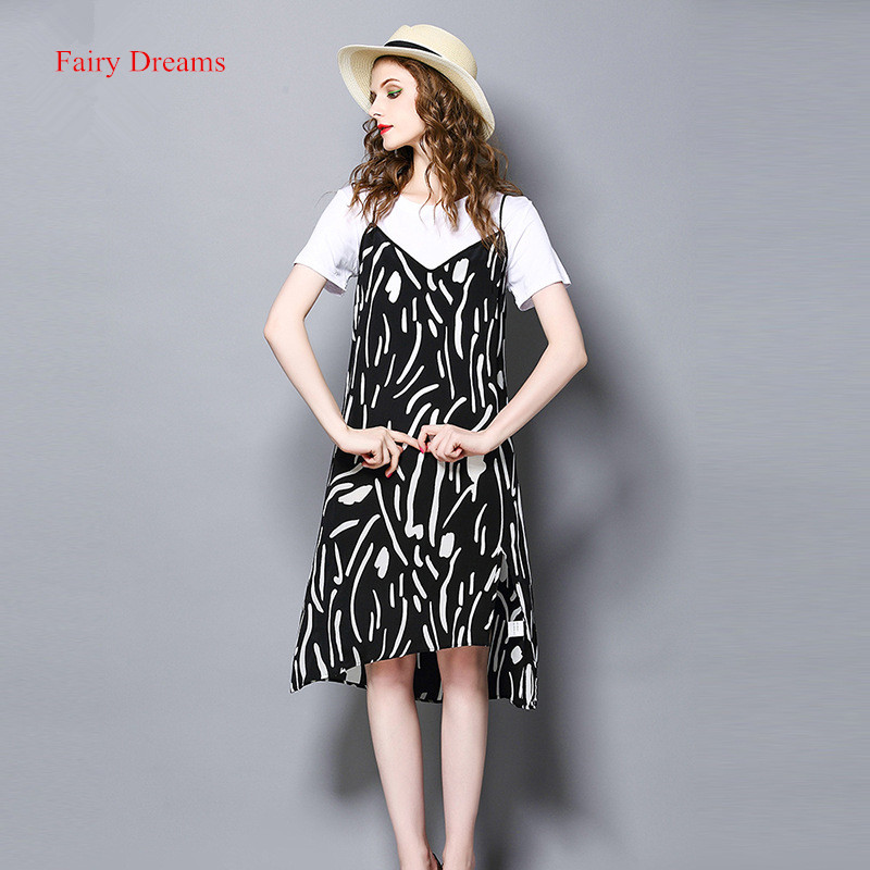 Fairy Dreams Women dress Summer Suits White T Shirt Print Sundress 2017 New Style Korean Fashion Brand Clothes vestido de festa(China)