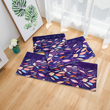 Flannel material Cartoon Soft Non-Slip Black and Blue Fish Pattern Kitchen Rng Runner Living Room Rug Doormat(China)