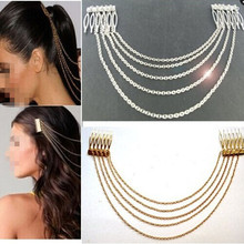 Fashion Punk Hair Cuff Pin Clip 2 Combs Tassels Chains Headband Silver/Gold Wedding Accessories Hair Jewelry JWD131(China)