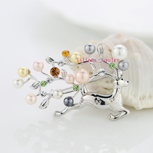B154761 new simulated pearls deer shape brooch zinc alloy rose gold color silver color with Austria crystal fashion lady jewelry(China)