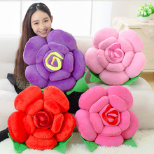 Home Decorative 3D Pillow for Sofa Married with Creative Gift Roses Short Plush Fabric Soft PP Cotton Filled Cushion Couple(China)