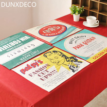 DUNXDECO 4PC Retro Country Style POP Print Linen Cotton Table Placemat Coffee Store Napkin Home Kitchen Table Mats Photo Prop