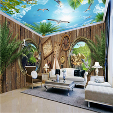 beibehang Custom Photo Wallpaper Mural Wall Sticker Hooded Woodland Blue White Cloud Coconut Tree House Theme Space Background(China)