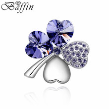 Fashion Clover Brooches Made with Swarovski Elements Crystals from Swarovski  hijab pins and brooch for women fine  jewelry