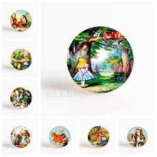 Alice In Wonderland Cheshire Cat Caterpillar DIY 25mm Round Glass Cabochon for Pendant Glass Dome Jewelry Accessories(China)