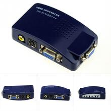 Composite Video PC VGA to AV /VGA to V/CVBS/S-Video/RCA RCA S-Video Converter Box For all PC and MAC notebook