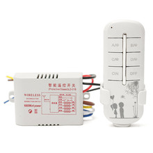 4 Way Channel Remote Wireless Switch 220V ON/OFF For Light Lamp Splitter With Digital Transmitter(China)
