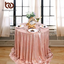 BeddingOutlet Sequin Tablecloth Round Table Cloth Handmade Table Cover Luxury Dining Tablecloths Pink Bling Wedding Decoration