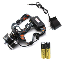 New 5000LM RJ-3001 T6 + 2R2 LED Headlights with Flat Headband A charger + 2PCS 18650 Battery (US, EU two kinds)