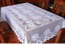10pcs White Square Polyester Linen Lace Luxury Dining Tablecloths Decoration for Home Beautiful Tablecloths Coffee Table Lace