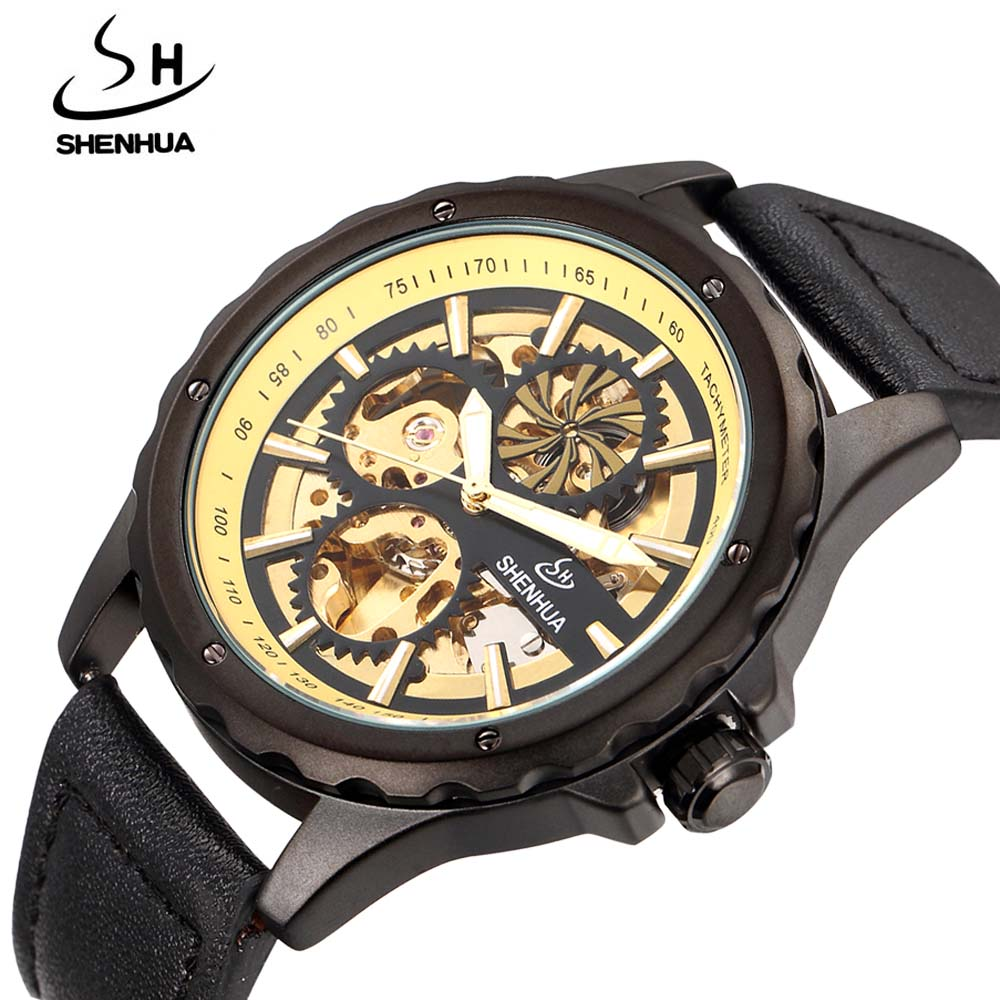 2017 SHENHUN Luxury Mens Watches Leather Band Automatic Mechanical Skeleton Wrist Watches For Men Casual Sports Men Watches<br>