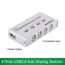 4 ports USB 2.0 Auto sharing Switcher 4 in 1 out 480Mbps Keyboard/hotkey switch For 4 Computers share 1 Printer scanner