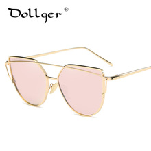 Dollger Vintage Cat Eye Sunglasses for Women Brand Designer Twin-Beams Gold Frames Fashion Mirror Flat Lens lady Eyewear s0451(China)