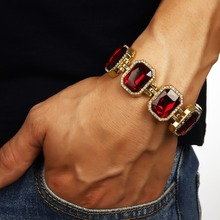 Wholesale Hip Hop Black Red Blue Gold Finish Bracelet Red  Rick Ross Women Men Jewelry Gift Brand Trendy Mens Iced Out