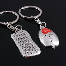 1pair Creative Mouse and Keyboard Pendant Keyring Keychain Keyfob Lover Creative Advertising Small Gifts(China)