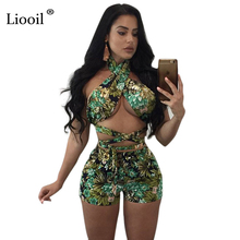 Buy Liooil Floral Print Two Piece Jumpsuit Halter Hollow Bandage Sexy Women Rompers Bodycon Beach Holiday Jumpsuits Playsuits