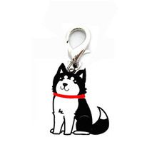 Mini cute black Siberian Husky design pendant tags pet dog supply collar hanging identity item signs for small cat puppy(China)