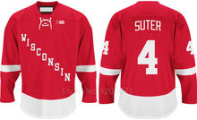 Wisconsin Badgers #4 Ryan Suter Red College Hockey Jersey Embroidery Stitched Customize any number and name Jerseys(China)