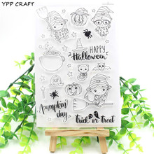 YPP CRAFT Happy Halloween Transparent Clear Silicone Stamps for DIY Scrapbooking/Card Making/Kids Fun Decoration Supplies(China)