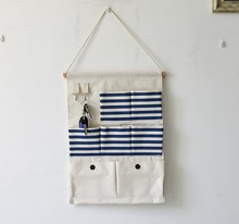 Hanging storage bag Linen made Vintage wall 7 pocket shelf Zakka home decor organizer  Novelty households 0626