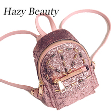 Hazy beauty New sequined women backpack super chic lady bling mini backpacks high fashion girls wrist bags new function DH665
