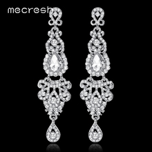 Mecresh 5 Colors Long Earrings Crystal Silver Color Women Bridal Chandelier Pendante Wedding Earrings Engagement Jewelry EH162(China)