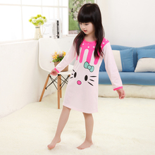 3-11Y Girls Nightgown children clothing Knitting cotton long sleeved pajamas dress Cute kids Homewear Nightdress Cloth