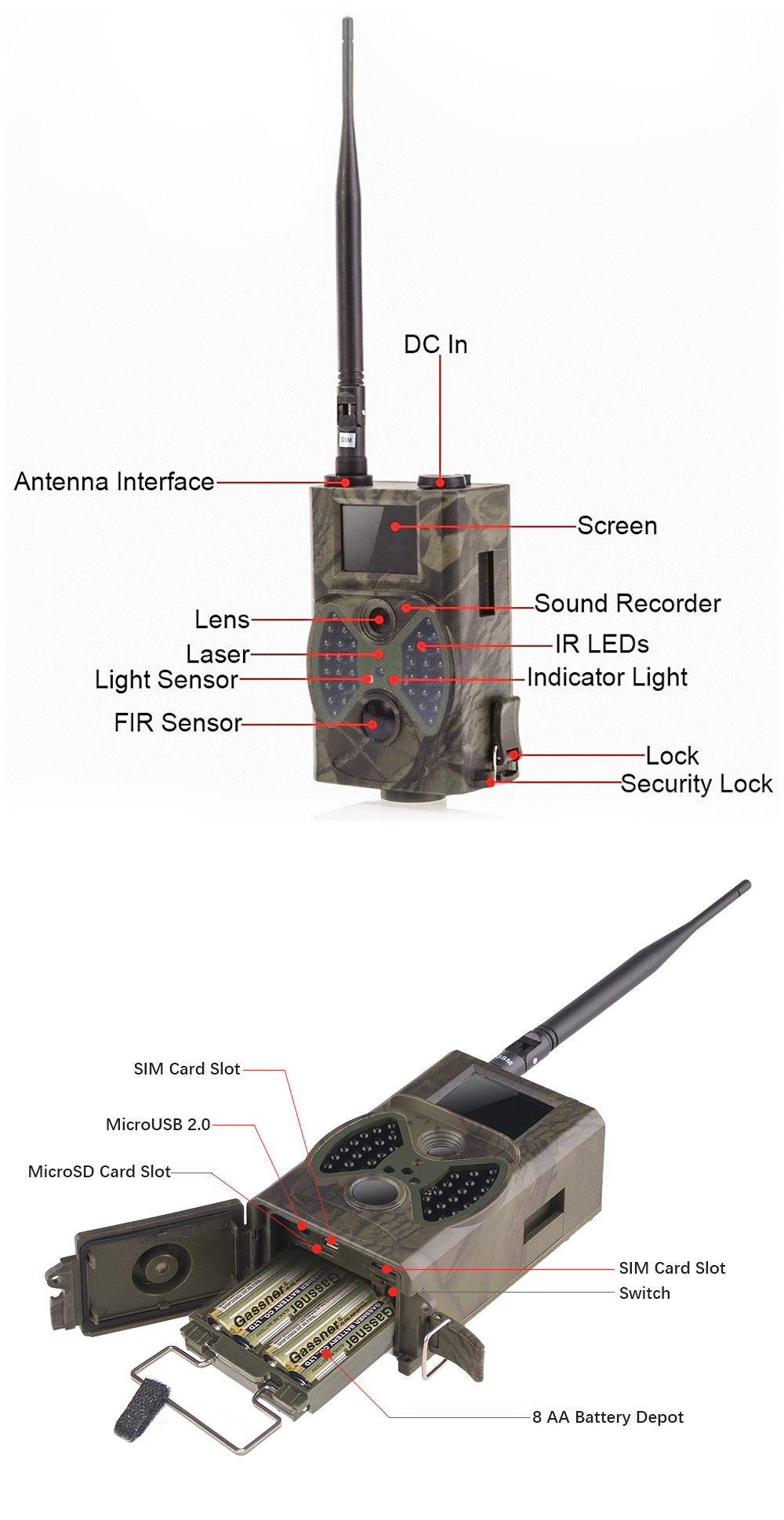 HC 300M Deer Cameras 12MP GSM MMS GPRS SMS Control Hunting Camera HC300M with 36 units Infrared LEDS Motion Detection HC-300M (9)