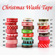 1pc Tape Christmas set red heart color Scrapbooking DIY Sticker decorative adhesive tape Japanese washi tape masking tape 10m(China)