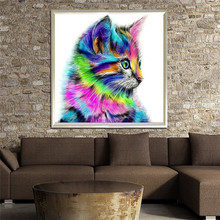 5D Diamond DIY Embroidery Painting Cat Colorful Resin Cross Stitch Kits Needlework Decoration Living Room Bedroom USPS(China)