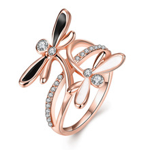 Latest Design Personality Double Dragonfly Crystal Rings Women Jewelry Popular Plated Rose Gold/Silver Rings For Christmas Gift