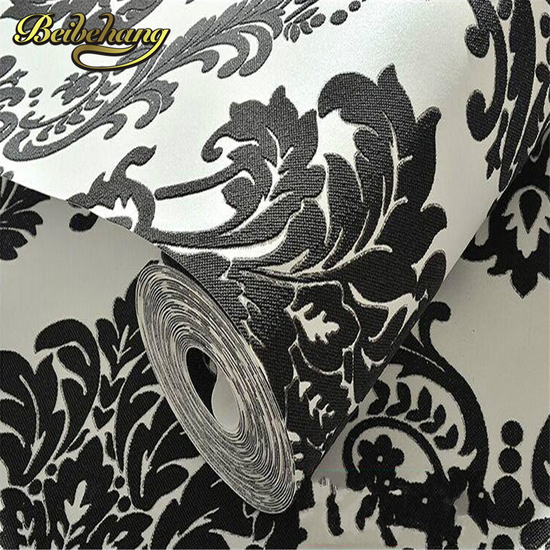 beibehang Rolls Design Flocking Textured Luxury Wall paper for background Modern High Quality Vintage European Damask Wallpaper<br>