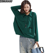 DIMANAF Plus Size 2017 Women Blouse Autumn Casual Solid Basic Show Thin Loose Tops&Tees Female Fashion Blue Green Blouse Pocket