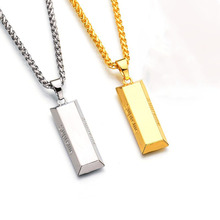 Fashion Men Necklace Punk Hiphop Cube Bar SUPREME Necklace&Pendant Charm Gold Chain Long Necklace Christmas Halloween Gift