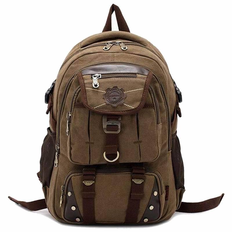 Brand designer canvas backpacks for men vintage Leather rucksack school student laptop backpack women travel hiking backpack<br><br>Aliexpress
