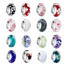 BISAER Wholesale 9 Styles Silver Plated European Murano Glass Beads Fit Pandora Bracelets & Necklaces DIY Accessories WEU6326