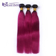 BEAUDIVA Pre-Colored T1B/ Dark Red Color Brazilia Remy Human Hair 3 Bundles Ombre Human Hair Extensions Weave(China)