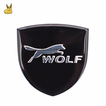 35x34mm Aluminium Alloy wolf Emblem Car Sticker Auto Badge Decals For ford Focus Mondeo Kuga Fiesta Escort Mustang ranger fusion(China)