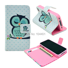 Soft Wallet Leather Case For iPhone 4 4S Stand Flip Book Design With Card Holder for iPhone4 TPU Gel Owl Dreamcatcher Cases