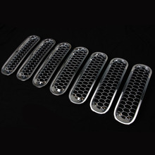 7 PCS Silver Mesh Front Grille Trim Cover NO Lock Hole For Wrangler JK 07-15 Car Inserts Racing Grille