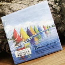 Blue napkins Sailing boat vintage paper napkins25*25cm 2-ply sea blue napkins for decoupage
