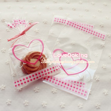 600pcs/lot Clear Pink Heart Cookie Bag,Cellophane Plastic,For Bakery Gift Christmas Packaging Packing 10x16 cm
