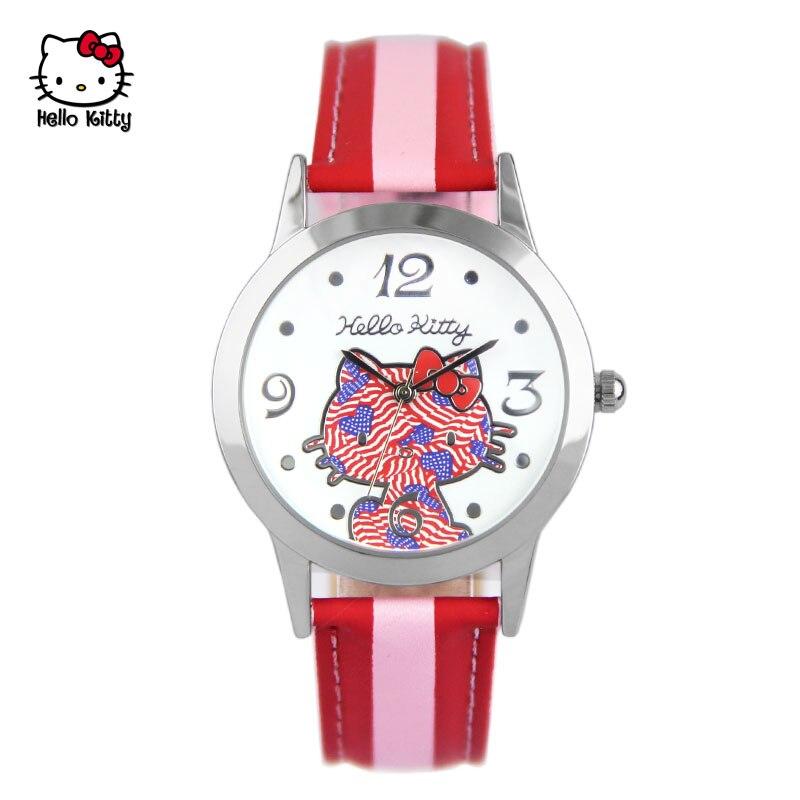 Original hello kitty Genuine womens wrist watch leather quartz student girls clocks fashion casual ladies waterproof number<br>
