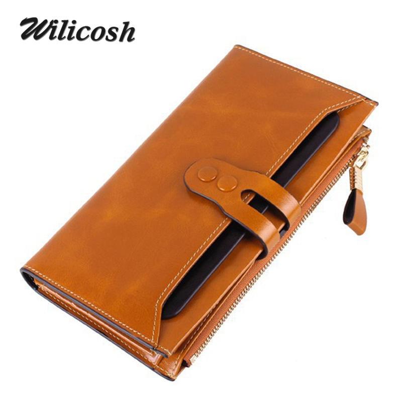 Brand Genuine Leather Women/Men Wallets Long Womens Wallets Purses Female Clutches Cowhide Lady Wallet Purse Card Holder WL208<br><br>Aliexpress