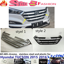 For Hyundai Tucson 2015 2016 Car body protection ABS chrome trim Front racing up Grid Grill Grille Around frame lamp panel 1pcs