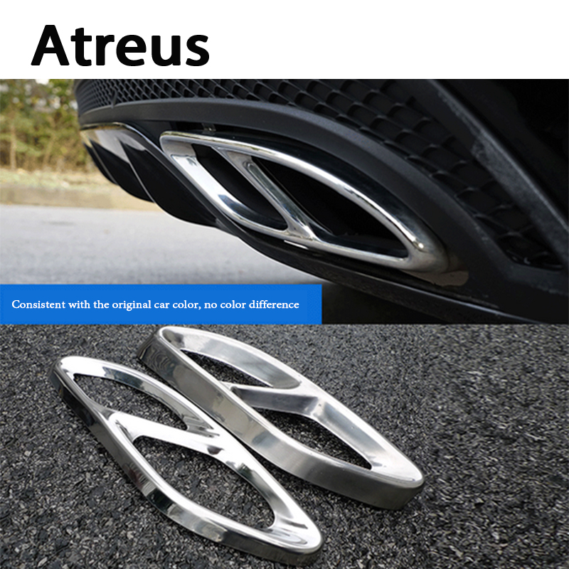 Atreus2X Car Exhaust Pipe Tail Decorative Cover Trim For Mercedes Benz E-Class W213 W205 GLC C A Class A180 A200 W176 2015-2017 <br>