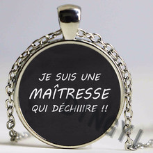 Wholesale Glass Dome Necklace Handmade merci maitresse Pendant Silver Antique Bronze Plated Necklace Chain For Women