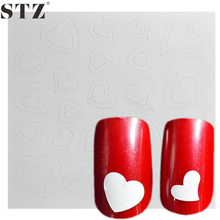 STZ  1 Sheet  Cute Heart Line Shape French Nail Art Tips Guide Pack Sticker New Fashion Design 3d Emboss Manicure Set Tool FJ21