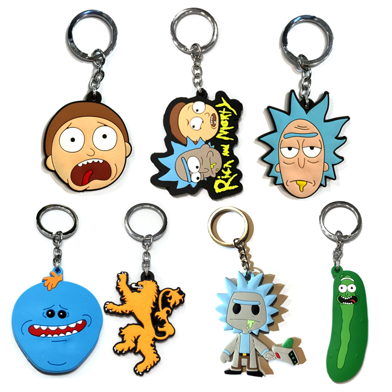 BRAND NEW IN BAG KEYCHAIN KEYRING CARTOON RICK AND MORTY VINYL PLASTIC FUNNY