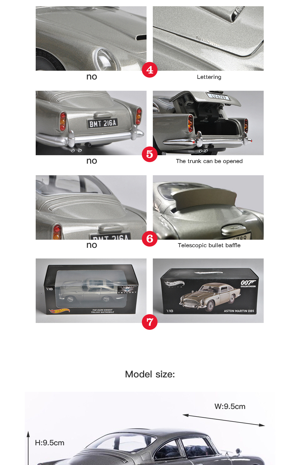 1 18 scale car models 2-4 Years james bond 007 collectables Aston Matin DB5 Diecasts & Toy Vehicles Model Toys For Gifts (5)